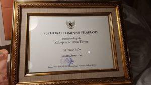 Sukses Eliminasi Penyakit Kaki Gajah, Luwu Timur Raih Sertifikat dari Kemenkes RI